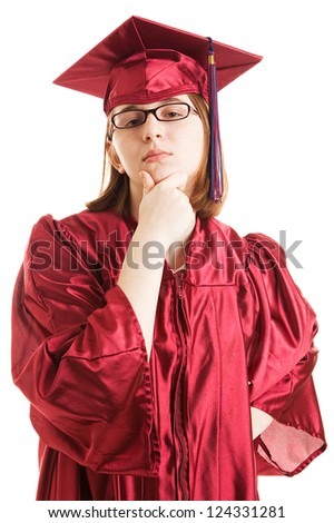 Smart young adult college or high school graduate. Isolated on white - stock photo