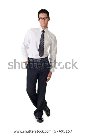 Smart young business man, full length portrait of Asian isolated on white background. - stock photo