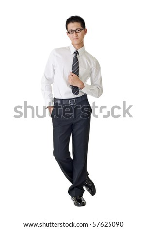 Smart young businessman standing, full length portrait of Asian isolated on white background. - stock photo