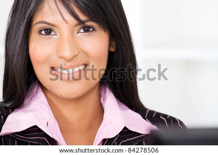 smart young latin american businesswoman closeup portrait - stock photo