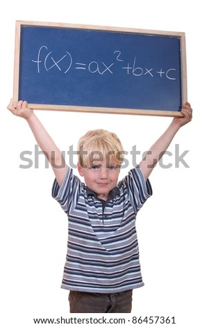 Smart young math student showing a quadratic equation - stock photo