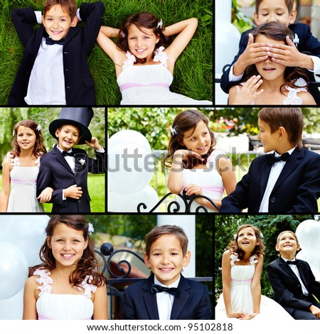 Smartly dressed little bride and groom spending time together outside - stock photo