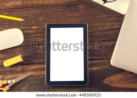 smartphone and business office supplies on wooden table with copy space,office workplace, Business concept, vintage tone, soft focus