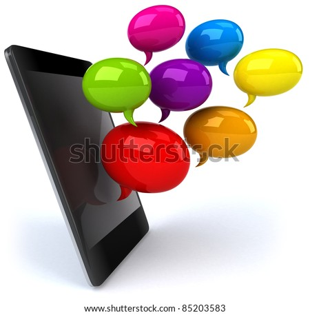 Smartphone and chat - stock photo