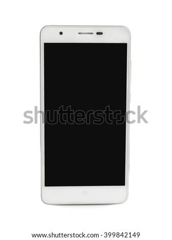 smartphone and empty touch screen on white background - stock photo
