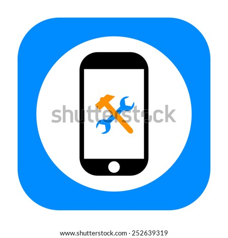 Smartphone and repair tools icon - stock photo