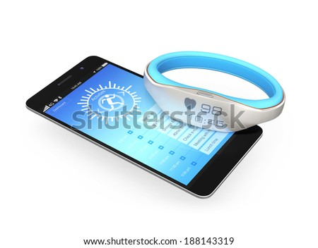 Smartphone and smart wristband - stock photo