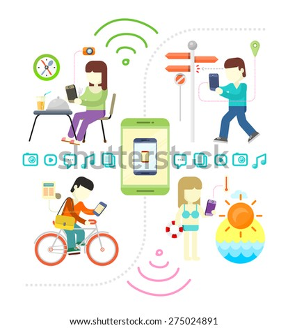 Smartphone and social media mania. Modern situation of technology interaction in everyday lifestyle. Internet connection spots outdoors. Search the road with GPS in smartphone. Raster version - stock photo