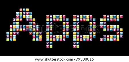 Smartphone applications icon set in Apps word shape. - stock photo
