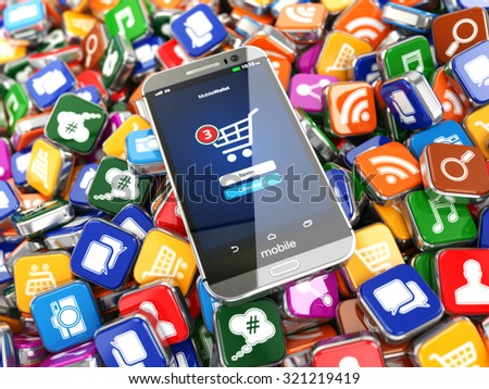 Smartphone apps. Mobile phone on the application software icons background. 3d - stock photo