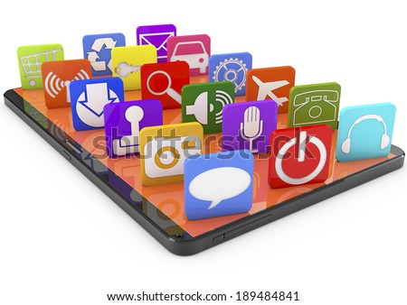 Smartphone apps,touchscreen smartphone with application, 3d image - stock photo