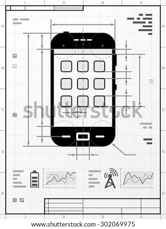 Smartphone as technical drawing. Stylized drafting of phone with title block. Image about smartphone, touchscreen devices, telecommunication industry, mobile technology, digital electronics, etc - stock photo