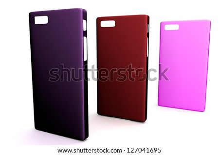 smartphone back covers magenta, red and pink on white background