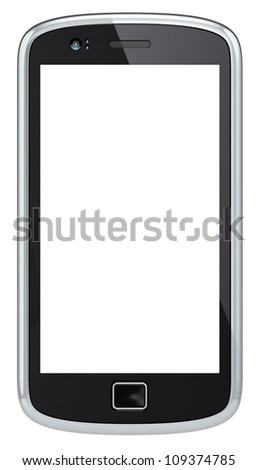 Smartphone.Black Smartphone, blank screen for Copy Space. Isolated.