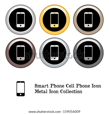 Smartphone Cell Phone Icon Metal Icon Set. Raster version. - stock photo