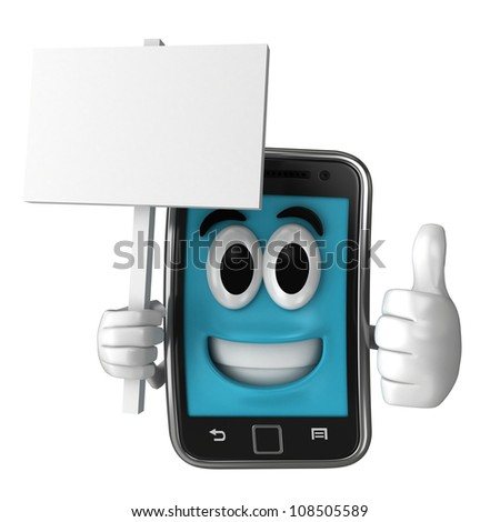 Smartphone character holding a placard while giving thumbsup