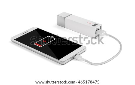 Smartphone charging with power bank on white background, 3D illustration
