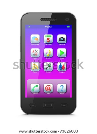 Smartphone, 3d render. Smart phone with icons on screen isolated  over white