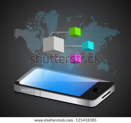 smartphone diagram illustration design over a white background
