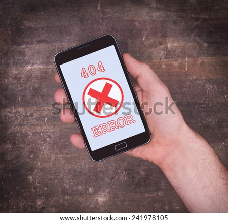 Smartphone displaying an error, 404, not found - stock photo