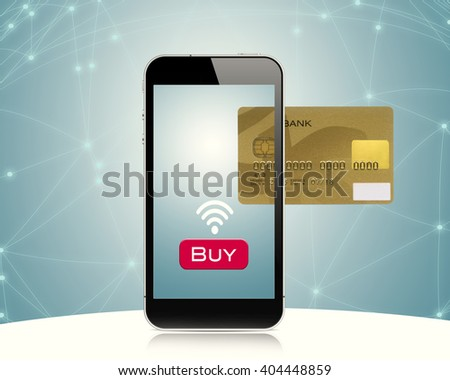 Smartphone displaying image of credit card.Digital composite
