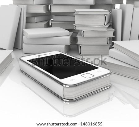 Smartphone E-Book/ Illustration of a smartphone e-book with realistic pages flipping effect. Imaginary model not made from a real existing mobile phone - stock photo
