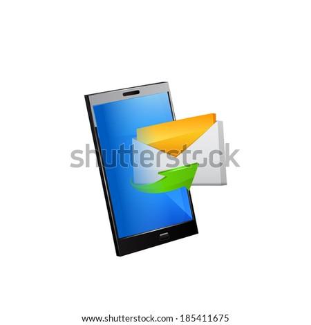Smartphone editable original design. Raster copy. - stock photo