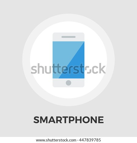 Smartphone flat icon isolated on the white background. - stock photo