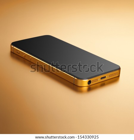 Smartphone gold on a gold background - stock photo