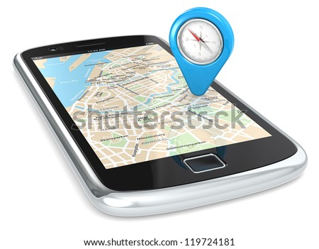 Smartphone GPS, Pointer. Black Smartphone. GPS map and an Abstract Pointer Icon with Compass. - stock photo