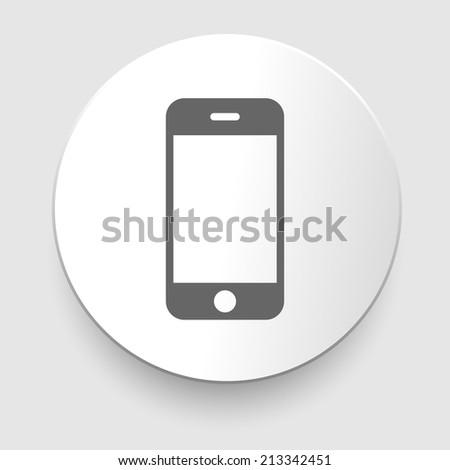 Smartphone gray icon on white background - stock photo