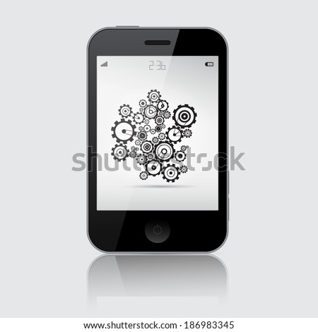 Smartphone Illustration with Cogs - Wheels on Grey Background