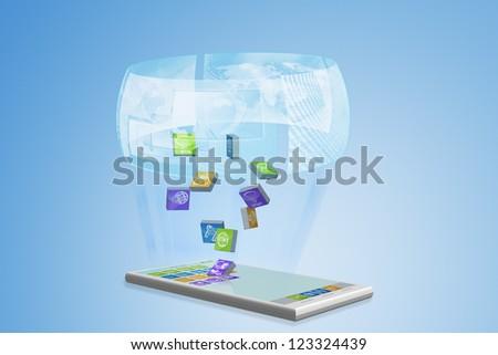 Smartphone illustration with hologram - stock photo