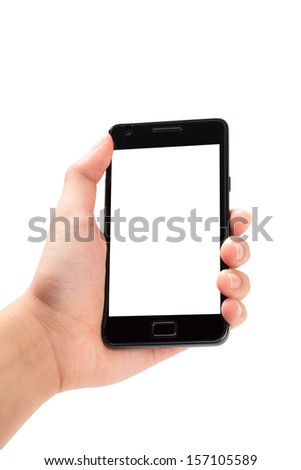 Smartphone in female hand on white background - stock photo