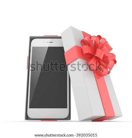 Smartphone in gift box. Isolated on white background - stock photo