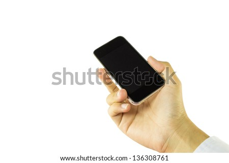smartphone in hand - stock photo