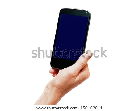 smartphone in hand isolated on white