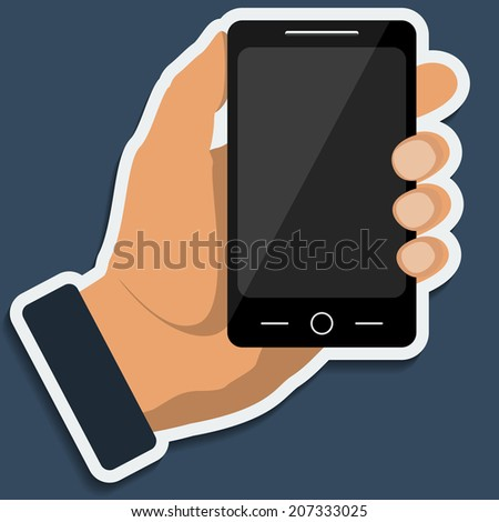 Smartphone in hand template for web and mobile applications. Raster copy.