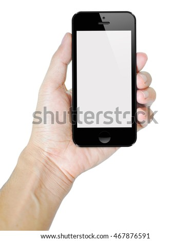 Smartphone in hold hand isolated on white background with copy space.
