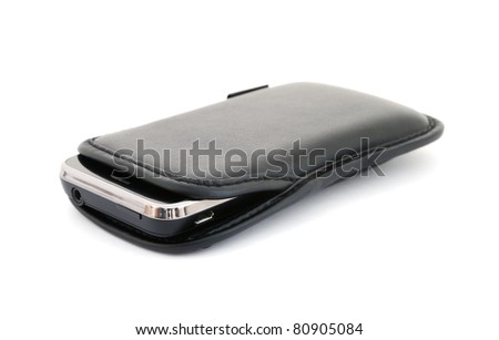 Smartphone in leather case isolated on white background - stock photo