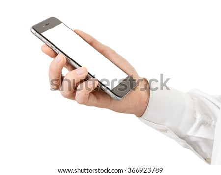 Smartphone in male hands, isolated - stock photo