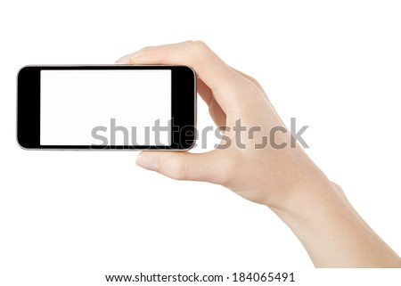 Smartphone in woman hand taking photo or video isolated on white, clipping path included