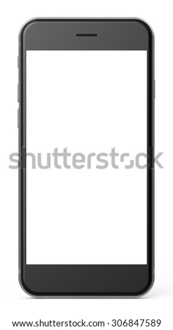 Smartphone isolated on white background,  blank screen. - 3d rendered image