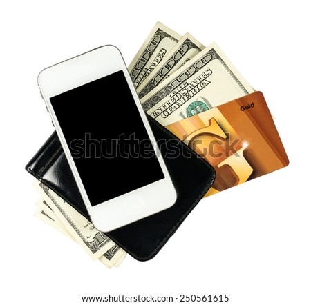 Smartphone lying on the purse with banknotes of United States and credit card, isolated on a white background - stock photo