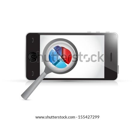smartphone magnify business concept illustration design over white - stock photo