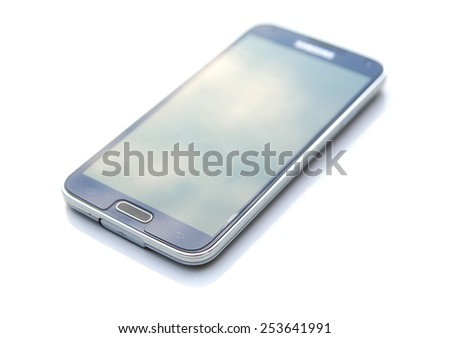 Smartphone, mobile phone isolated over a white background - stock photo