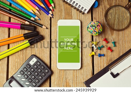 Smartphone mock up template for business presentations and apps design - stock photo