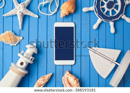 Smartphone mock up template for summer holiday app presentation. View from above. Flat lay - stock photo