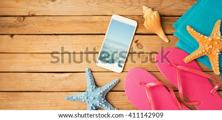 Smartphone mock up template with summer beach items. View from above. Flat lay - stock photo