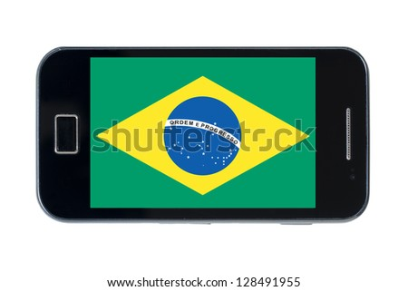 smartphone national flag of brazil on white - stock photo